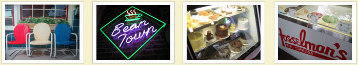 A collage of photos. Chairs outside the cafe. Bean Town neon sign hanging in front of a brick wall. Cakes and various confections in a display case. Ice cream display case with Fosselman's Ice Cream logo painted across the front.